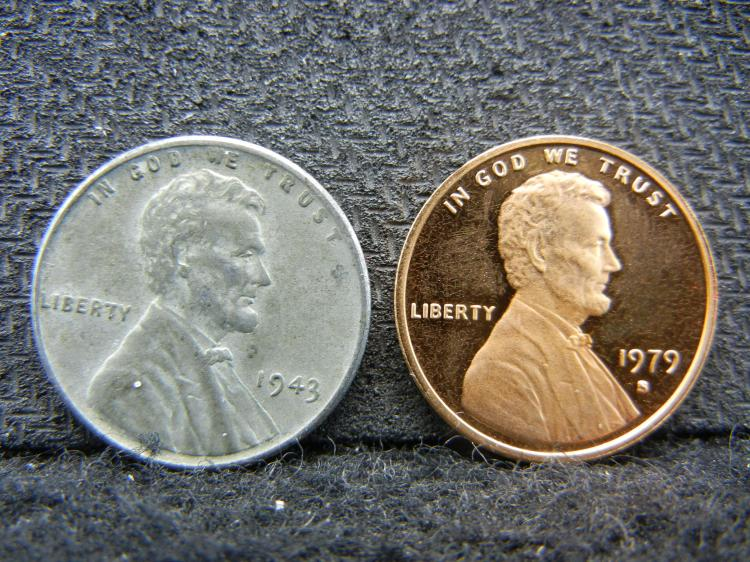 1943 Steel Lincoln Penny & 1979-S Proof Lincoln Penny