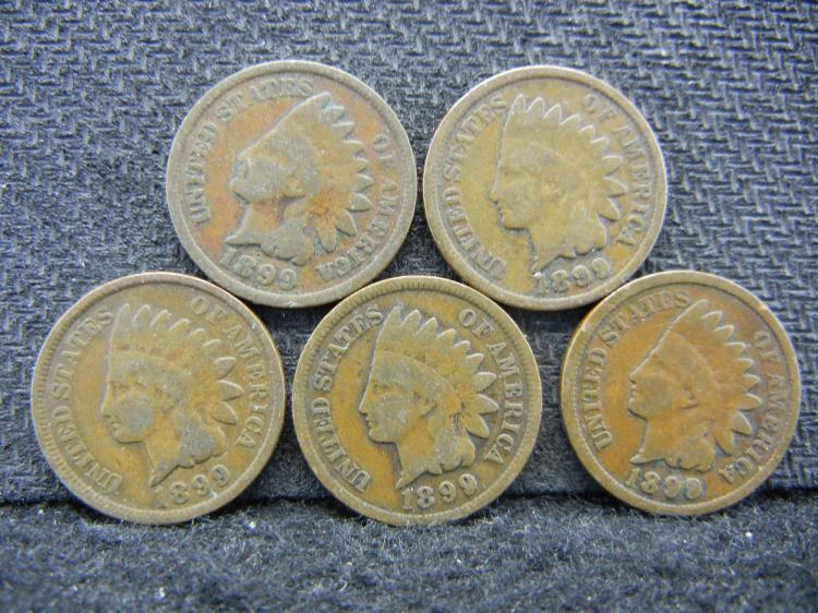 (5) 1899 Indian Head Cents