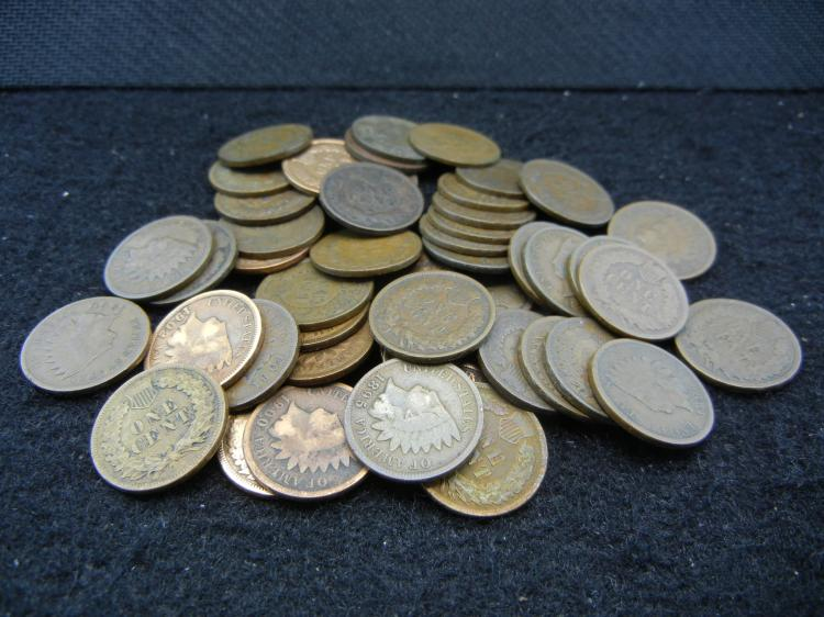 Roll of 50 Indian Head Cents.