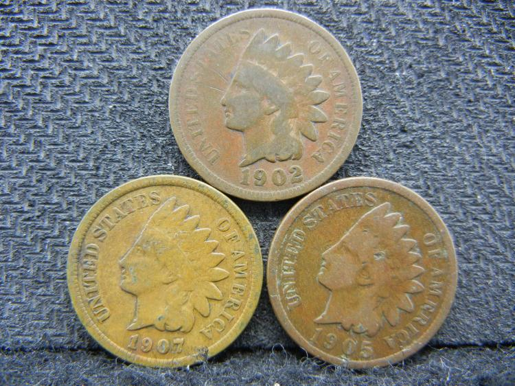 1902, 1905 and 1907 Indian Pennies