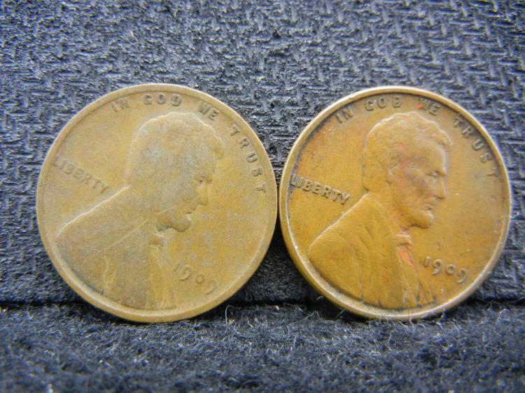 1909-P and 1909-VDB Lincoln Wheat Cents.