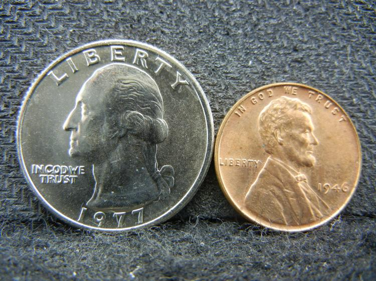 1973 Washington Quarter - Proof & 1946 Lincoln Cent -Red -BU