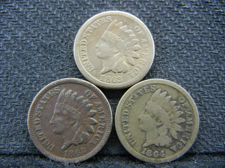 1862 1863 and 1864 Copper Nickel Indian Head Cents.