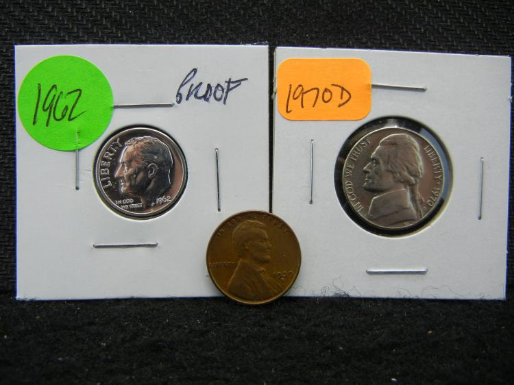 1970-D Jefferson Nickel & 1939-S Lincoln Cent & 1962 Roosevelt Dime - Proof