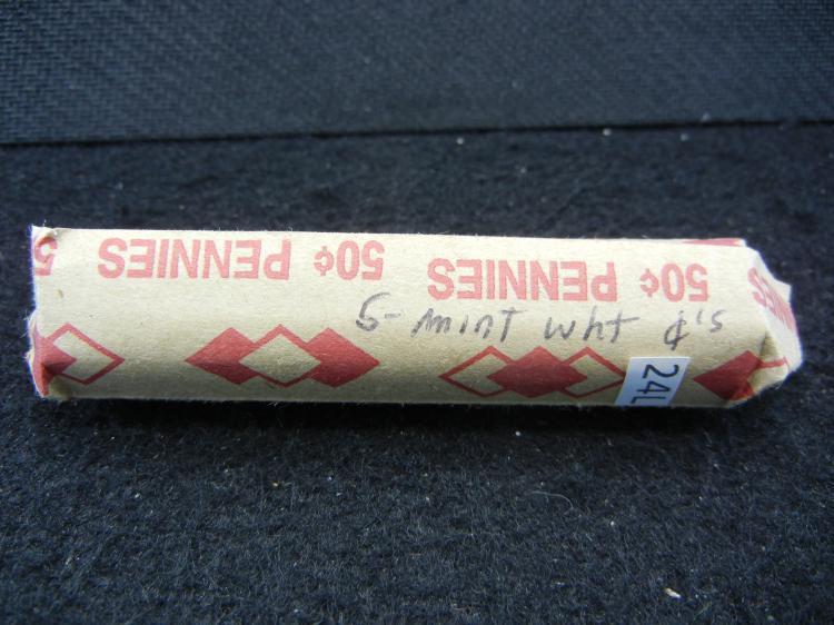 Roll of S-mint wheat cents.