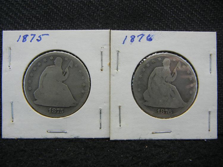 1875 and 1876 Seated Liberty Half Dollars.