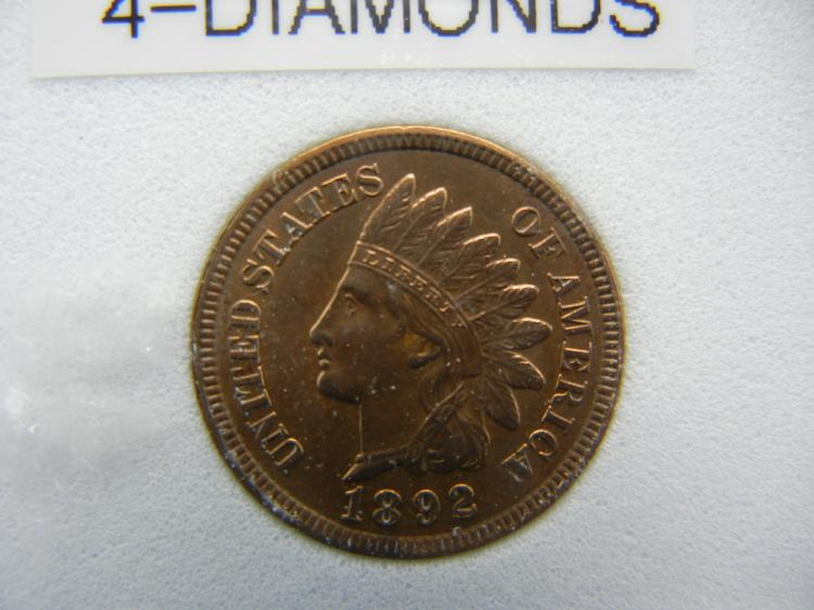1892 Indian Head Cent - 4 Diamonds, Full Liberty, Beads & Ribbon