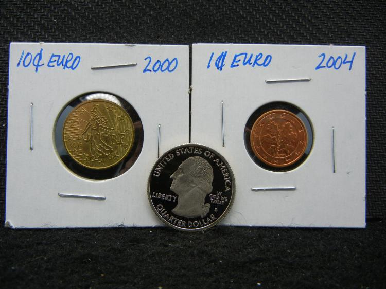 2000 and 2004 Euro Coins & 2009-S Virgin Islands Quarter Proof