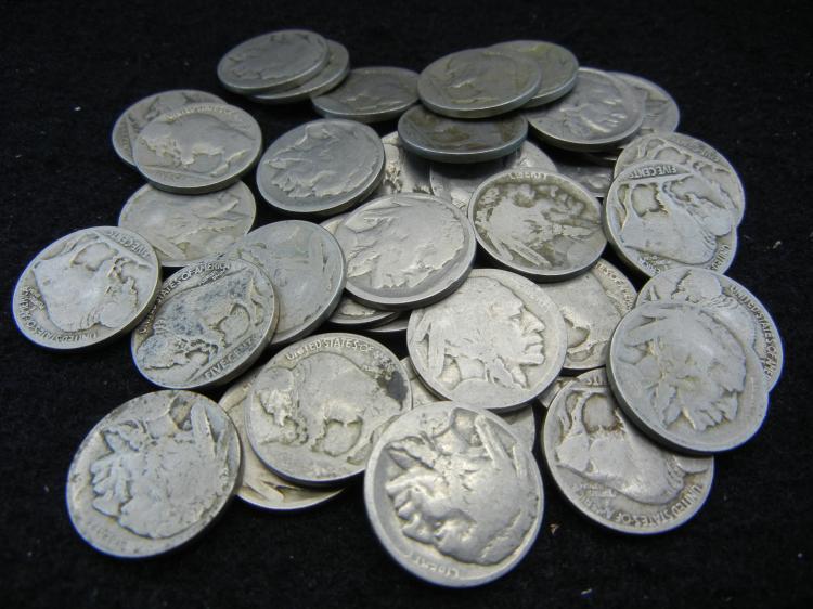 Roll of 40 dateless buffalo nickels.