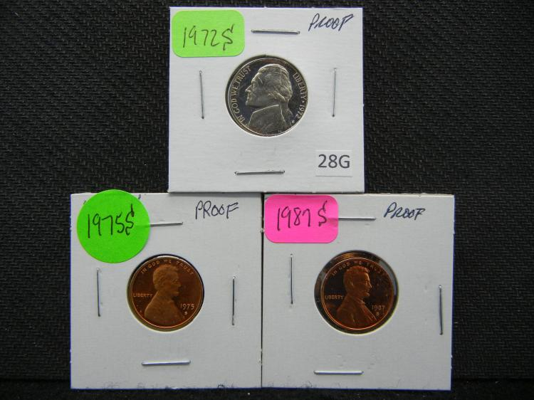 1972-S FS Jefferson Nickel, &1975-S and 1987-S Lincoln Cents - Red -All Proofs