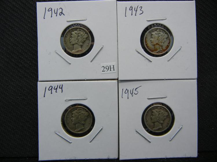 1942, 1943, 1944, & 1945 Mercury Dimes