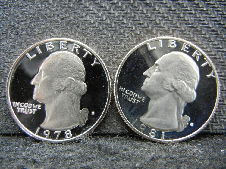 1978-S & 1981-S Washington Quarters - Proofs