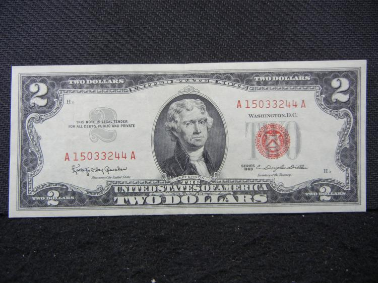 1963 $2 red seal United States Note.