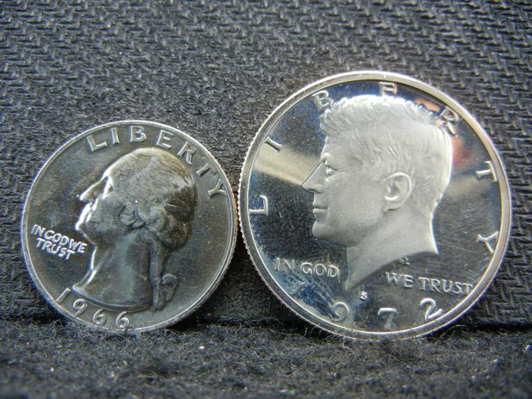 1972-S Kennedy Half Dollar & 1966 Washington Quarter Proofs