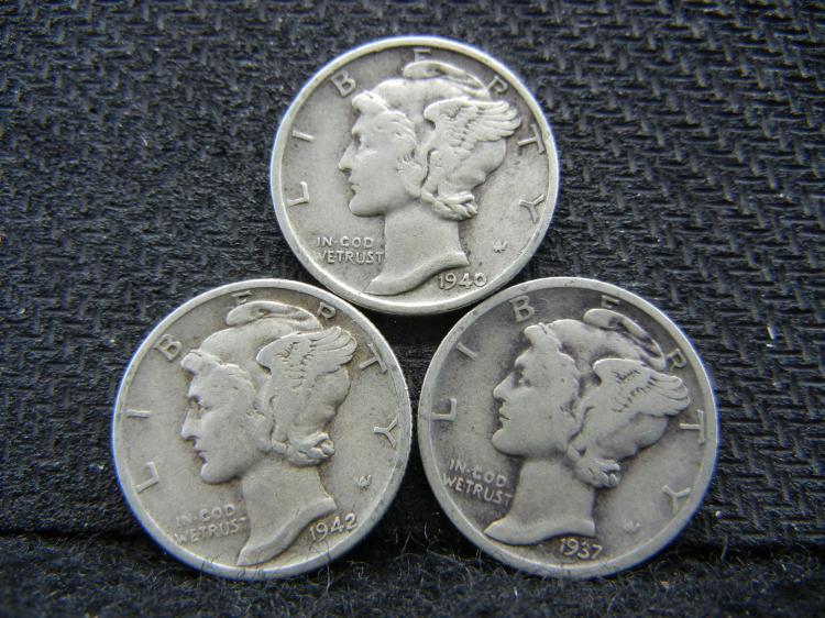 1937-D, 1940-S, & 1942 Mercury Dimes