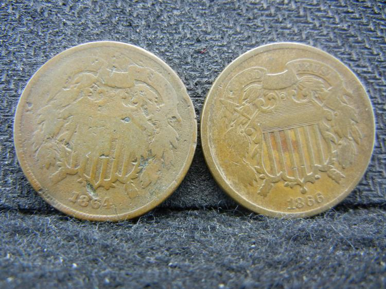 Group of 2 Two Cent Pieces. 1864 1866.