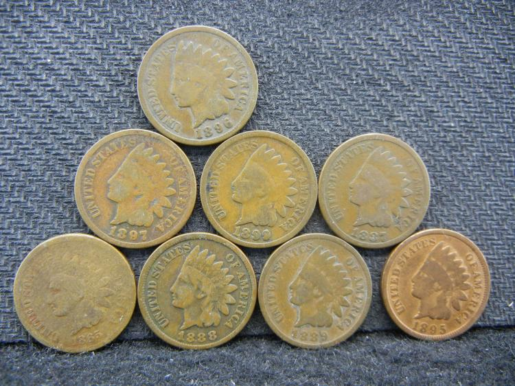 Run of 8 Indian Head Cents 1865-1899. 65 87 88 89 95 96 97 99.