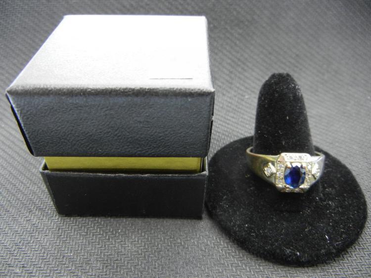 Men's Ring w/Blue & Clear Gems Size 12.5