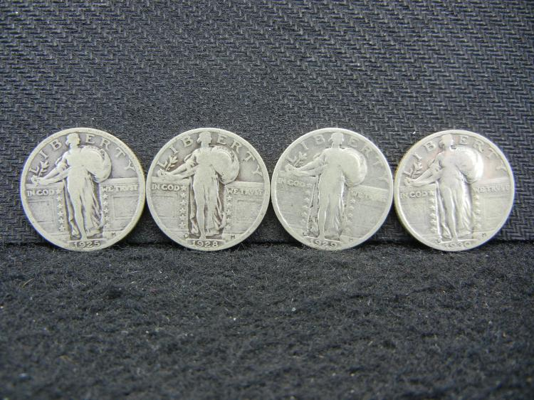 1925 1928-D 1929-S 1930-S Standing Liberty Quarters all with bold 4-digit dates.