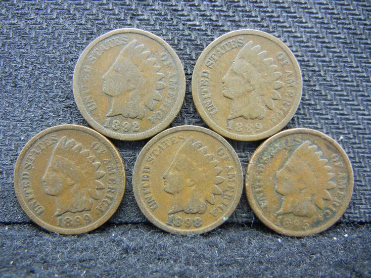 1889, 1892, 1895, 1898, & 1899 Indian Head Cent