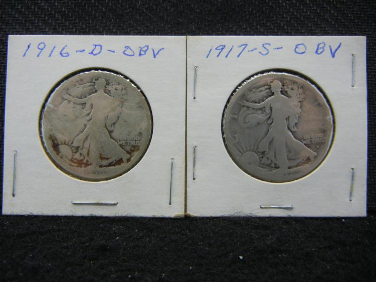 1916-D 1917-S Obverse Walking Liberty Half Dollars.
