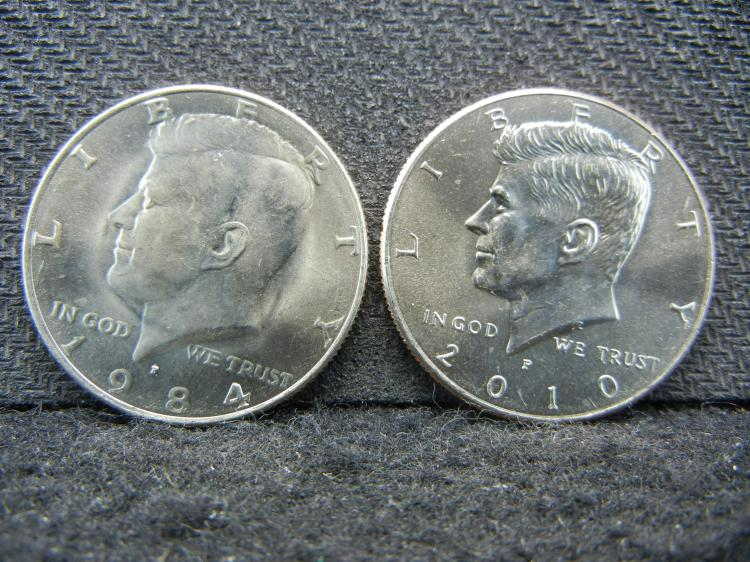1984 -P & 2010-P Kennedy Half Dollars Bus & 1967 SMS Lincoln Cent - Proof