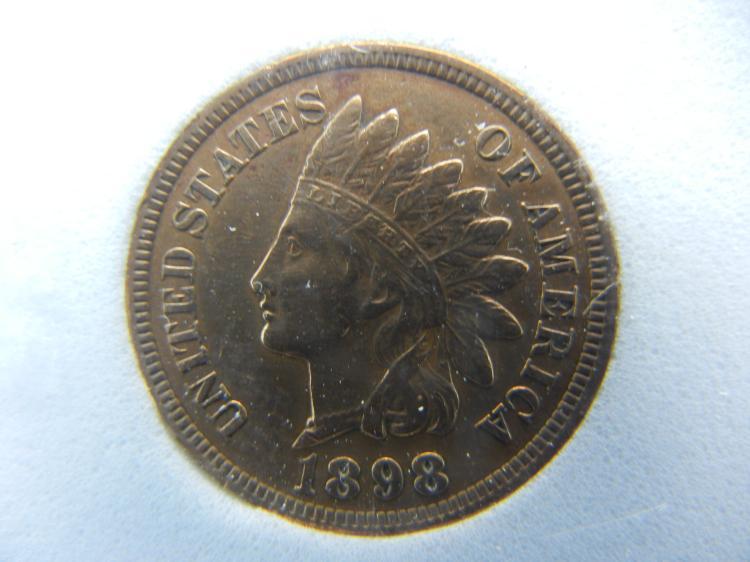 1898 Indian Head Cent - Diamonds Present, Full Liberty, Beads, & Ribbon