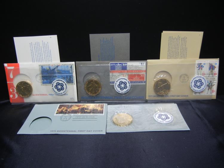 1973 1974 1975 1975 American Revolution Bicentennial Medal First Day Covers.