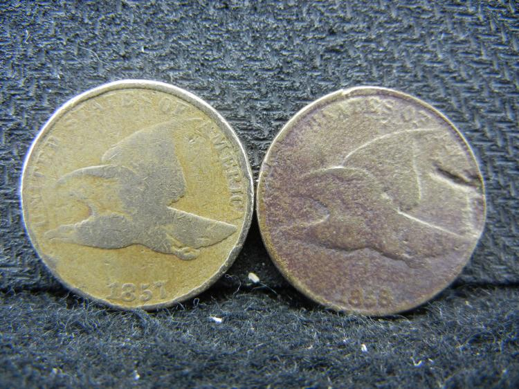 1857 and 1858 Flying Eagle Cents.
