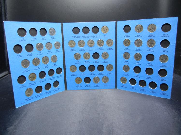 1938-1961 Jefferson Nickels 34 Coins in Blue Book - Incomplete