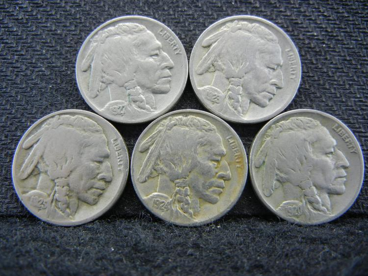 1920 1923 1924 1925 1927 Buffalo Nickels.
