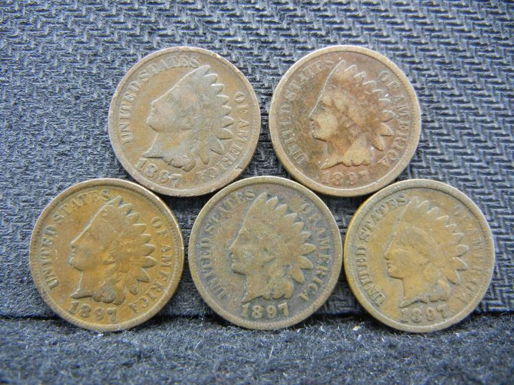 (5) 1897 Indian Head Cents