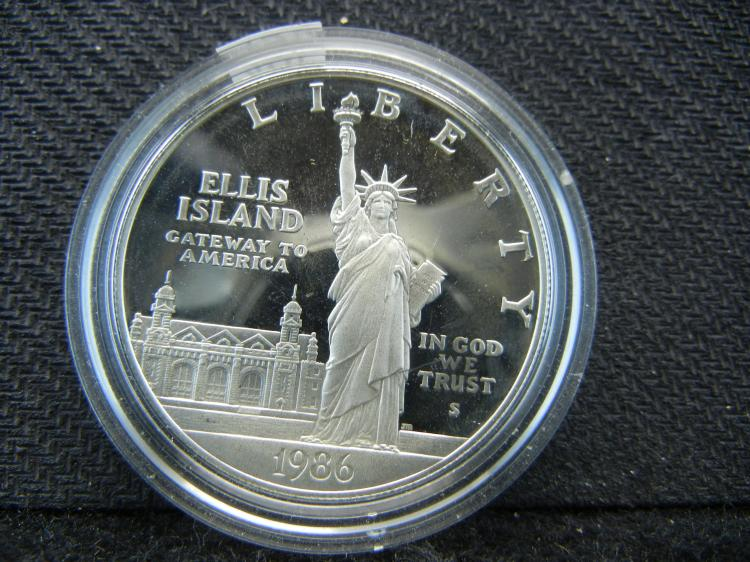 1986-S proof Statue of Liberty Commemorative Silver Dollar.