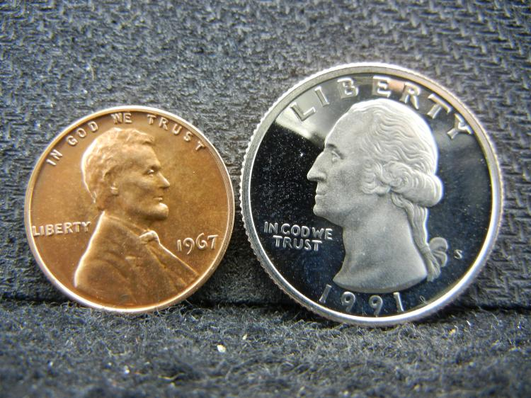 1991-S Proof Washington Quarter & 1967 SMS Lincoln Memorial Cent