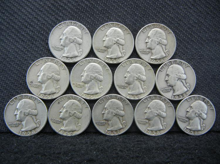 12 Mixed Date Silver Washington Quarters in Plastic Tube
