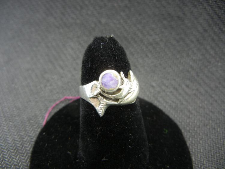 Sterling Silver Ring w/Purple Stone Size 5