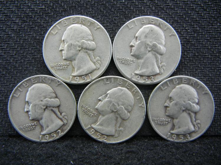 1951, 1952-P & D, & 1953-P & D Washington Quarters - 90% Silver