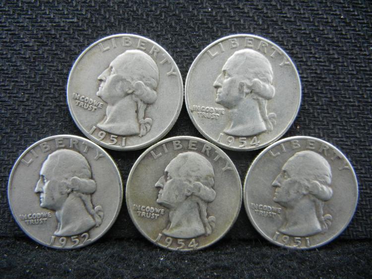 (2) 1951, 1952, & (2) 1954 Washington Quarters - 90% Silver