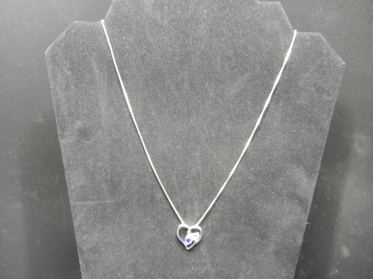Sterling Silver Necklace w/Heart Pendant & Purple Stones