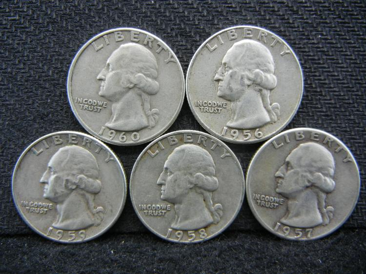 1956, 1957, 1958-D, 1959, & 1960 Washington Quarters - 90% Silver