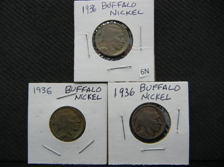 (3) 1936 Buffalo Nickels