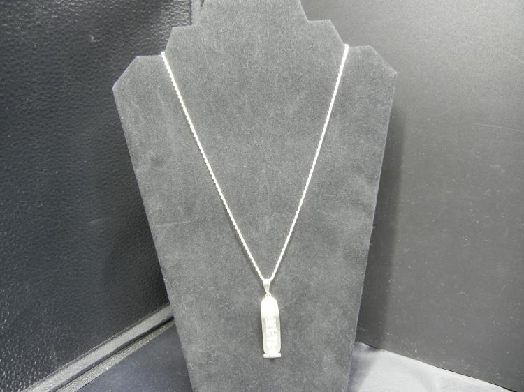 Sterling Silver Necklace w/Maya Pendant - Weight 13.38 Grams