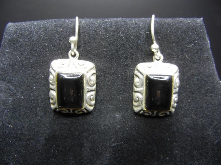 Sterling Silver Earrings w/Onyx - Weight 9.93 Grams