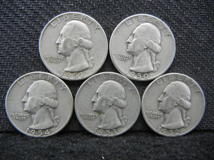 1950-D, 1951-D, 1952-D, 1953-D, & 1954-D Washington Quarters - 90% Silver