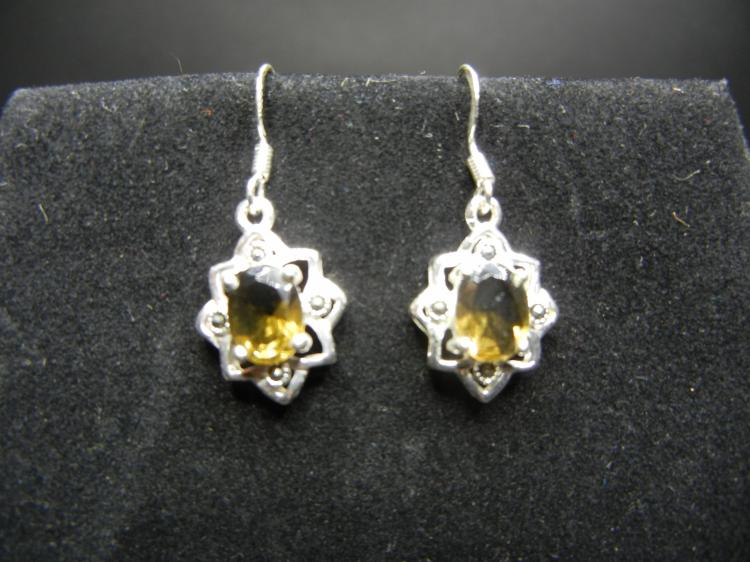 Sterling Silver Earrings w/Amber Gems