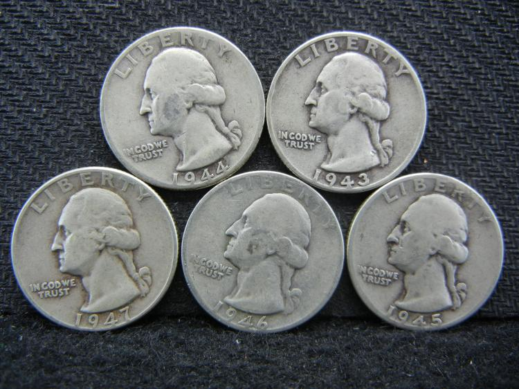 1943, 1944, 1945, 1946, & 1947 Washington Quarters - 90% Silver