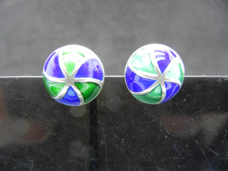Sterling Silver Earrings w/Blue & Green Inserts