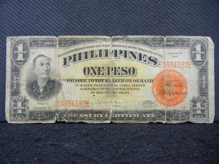 Series of 1941 Philippines One Peso Note