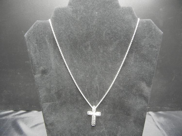 Sterling Silver Necklace w/Cross Pendant