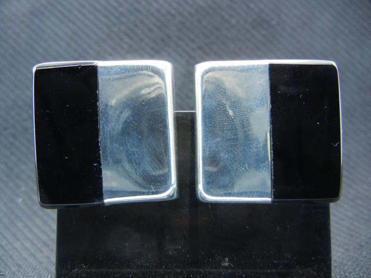 Sterling Silver Earrings w/Black Accents - Weight 23.50 Grams